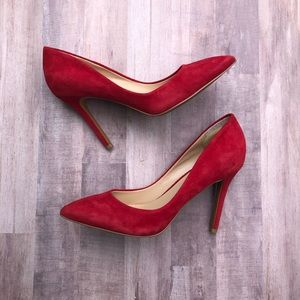 Charles David Red Suede Pointy Pumps